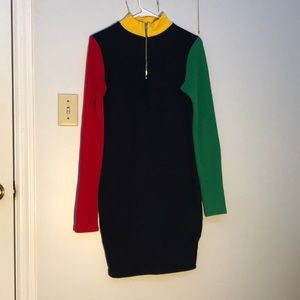 Never worn, ribbed color block dress